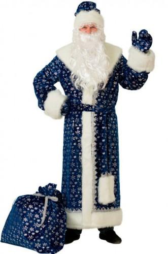 Прокат костюма деда мороза синий
